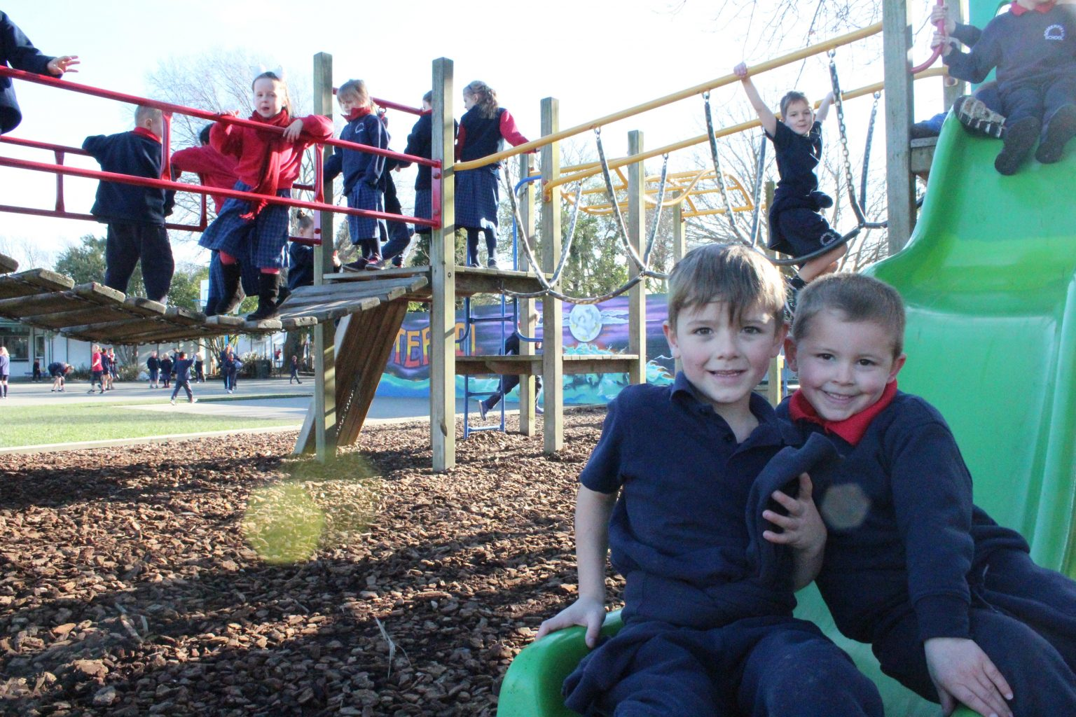 Somerfield Te Kura Wairepo students on a playground