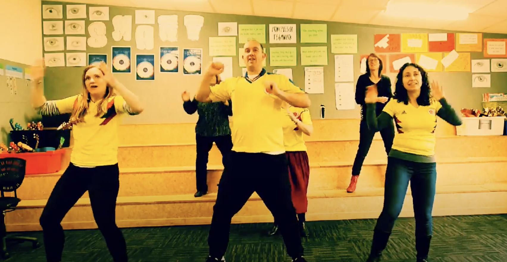 Somerfield Te Kura Wairepo teachers dancing on a classroom